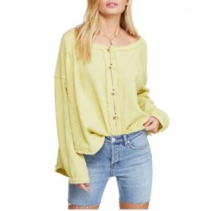 Free People Yellow Moving Mountains Top Sz L, NWT